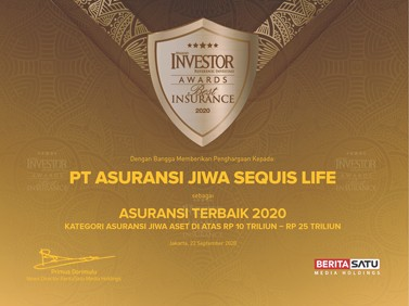 Sequis sebagai salah satu perusahaan suransi jiwa terbaik 2020 menurut majalah Investor